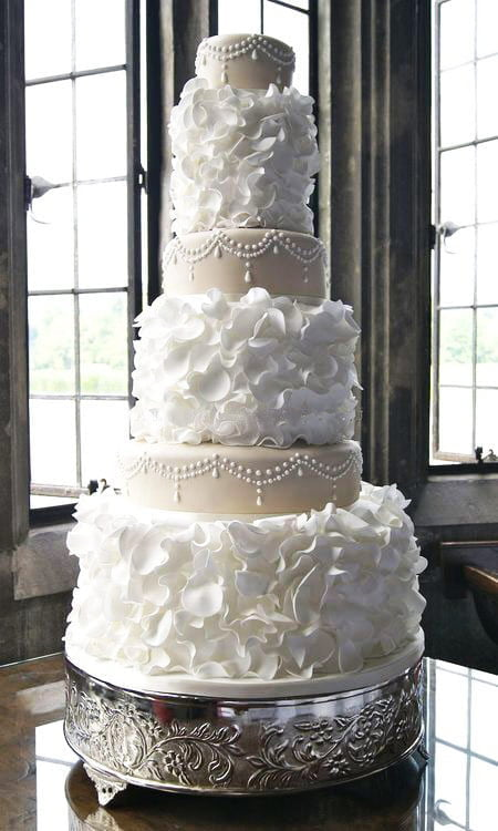 a big hit for wedding cakes are textured cakes in other words brides are now having more details on their dresses and they want the cake to look like their